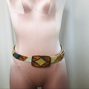 Tanner Leather and Snakeskin Patchwork Belt